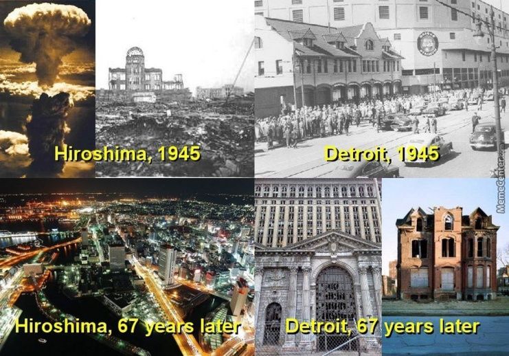 Then and now. Hiroshima, Japan compared with Detroit, USA.